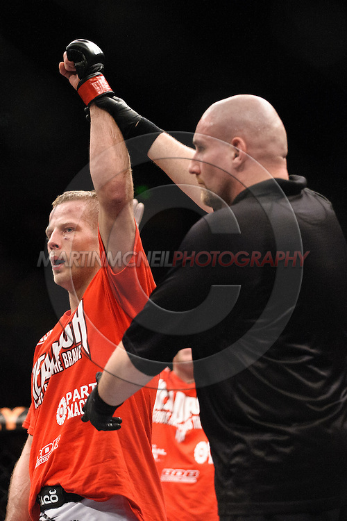 "SYDNEY, AUSTRALIA, FEBRUARY 27, 2011: Nick Ring is declared winner of his fight at ""UFC 127: Penn vs. Fitch"" inside Acer Arena in Sydney, Australia on February 27, 2011."