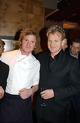 Left to right, chef IAN PENGELLEY and GORDON RAMSAY at the opening party of Pengelley's, 164 Sloane Street, London SW1 on 22nd February 2005.<br />