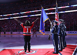 May 30; Newark, NJ, USA; Arlette sings the National Anthem before game 1 of the 2012 Stanley Cup Finals at the Prudential Center.  The Kings defeated the Devils 2-1.