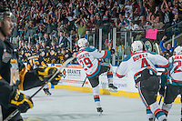 KELOWNA, CANADA - MAY 11: Leon Draisaitl #29 of Kelowna Rockets celebrates the opening goal against the Brandon Wheat Kings during the first period on May 11, 2015 during game 3 of the WHL final series at Prospera Place in Kelowna, British Columbia, Canada.  (Photo by Marissa Baecker/Shoot the Breeze)  *** Local Caption *** Leon Draisaitl;