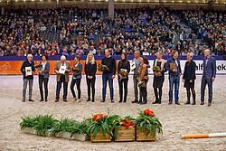 Van Os AJ, UB 40, Witte NF, Haak JDA, Jansen JM, Kies AM, Van Uytert Joop, Valk A, Kattenbelt CPJ, Fam Nijhof, Van De Valk FM, Van Anholt J, fokkers en eigenaren van Wynton, Painted Black, Vivaldi, UB 40, Johnson, Westpoint, Rousseau<br /> KWPN Stallionshow - 's Hertogenbosch 2018<br /> © Hippo Foto - Dirk Caremans<br /> 02/02/2018