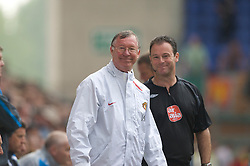 WIGAN, ENGLAND - Sunday, May 11, 2008: All smiles after Manchester United are awarded another easy penalty... manager Alex Ferguson is happy after the officials set his side up for a 2-0 victory over Wigan Athletic during the final Premiership match of the season at the JJB Stadium. (Photo by David Rawcliffe/Propaganda)