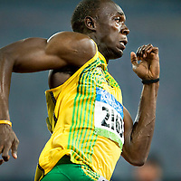 China, Beijing, 20-08-2008.<br /> Olympische Spelen.<br /> Atletiek, Mannen, 200 meter, Finale.<br /> Usain Bolt uit Jamaica tijdens zijn 200 meter die hij zal winnen in een nieuw wereldrecord met 19.30 seconden.<br /> Foto: Klaas Jan van der Weij / Sportstation