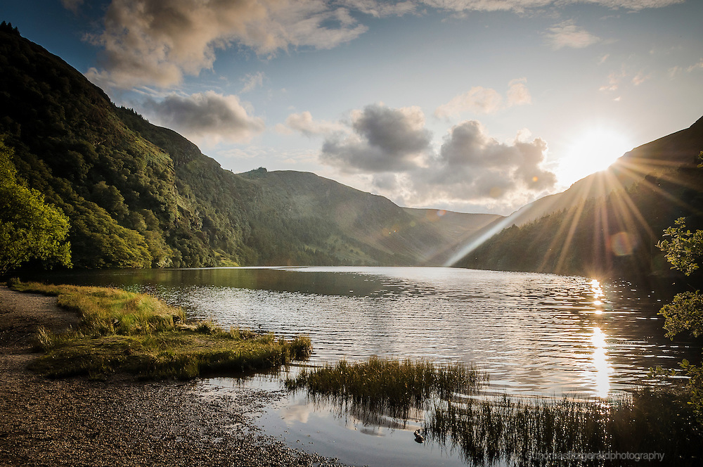 Sunset on the upper lake in Glendalough, Co. Wicklow, Ireland