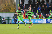 Forest Green Rovers Keanu Marsh-Brown(7) scores a goal 1-0 and celebrates during the Vanarama National League match between Forest Green Rovers and Lincoln City at the New Lawn, Forest Green, United Kingdom on 19 November 2016. Photo by Shane Healey.