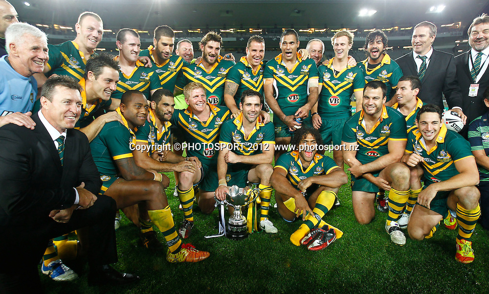 The Kangaroos celebrate with the ANZAC Cup. ANZAC Test, Kiwis v Kangaroos, Eden Park, Auckland, New Zealand, 20 April 2012. Photo: Simon Watts / photosport.co.nz