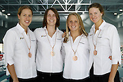 The New Zealand Womens relay team with their Commonwealth Games medals at the 2006 New Zealand Youth and Open Swimming Championships at QEII Leisure Centre, Christchurch on Friday 14 April 2006. Photo: Simon Fergusson/PHOTOSPORT