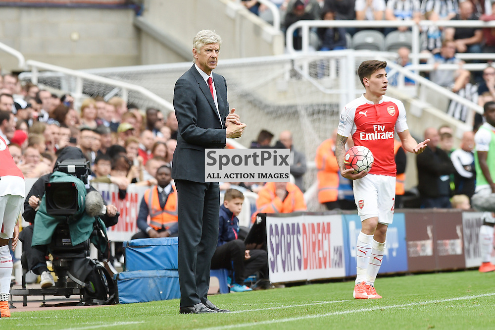 Arsene Wenger in the Newcastle United v Arsenal Barclays Premier League match at St James' Park Newcastle 09 August 2015<br /> <br /> (c) Greg Macvean / SportPix.org.uk