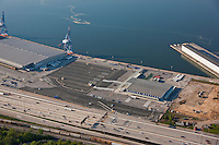 Aerial Image of empty Maryland Cruise terminal at South Locust Point in Baltimore