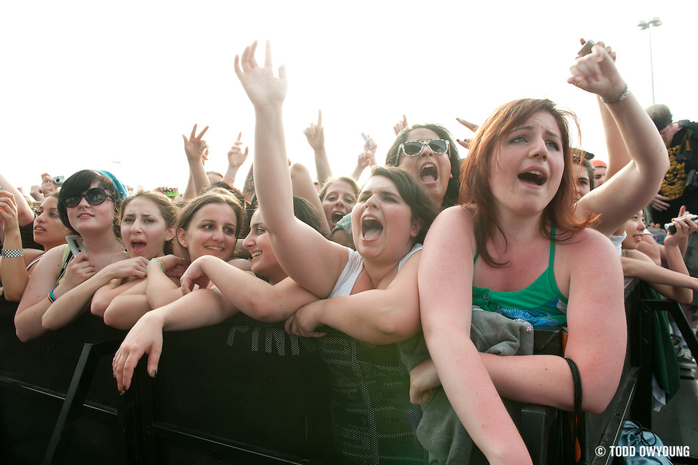 Fans cheering durin g Say Anything's performance at The Bamboozle in East Rutherford, New Jersey on May 2, 2010.
