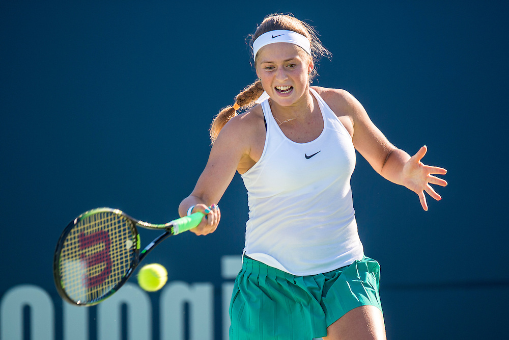 August 22, 2016, New Haven, Connecticut: <br /> Jelena Ostapenko of Latvia in action during a match a match on Day 4 of the 2016 Connecticut Open at the Yale University Tennis Center on Monday August  22, 2016 in New Haven, Connecticut. <br /> (Photo by Billie Weiss/Connecticut Open)