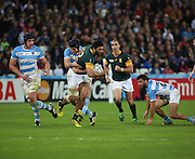 South Africa's Damian De Allende  with another South African attack during the Rugby World Cup Bronze Final match between South Africa and Argentina at the Queen Elizabeth II Olympic Park, London, United Kingdom on 30 October 2015. Photo by Matthew Redman.