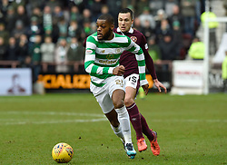 Celtic's Olivier Ntcham and Hearts Don Cowie during the Ladbrokes Scottish Premiership match at Tynecastle Stadium, Edinburgh.