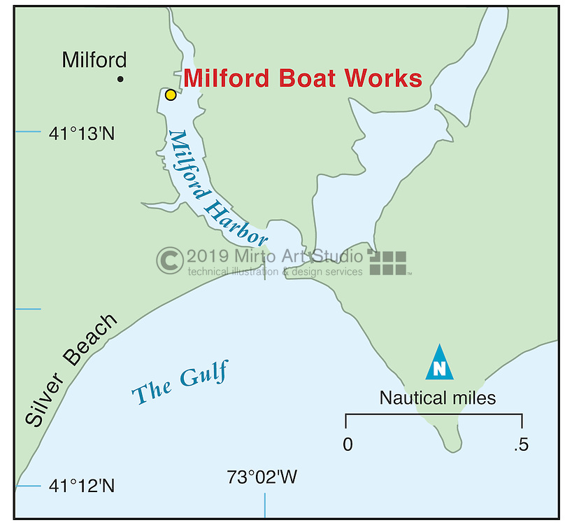 Vector map of Milford, Connecticut marina