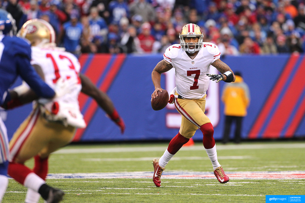 Quarterback Colin Kaepernick, San Francisco 49ers, in action during the New York Giants V San Francisco 49ers, NFL American Football match at MetLife Stadium, East Rutherford, NJ, USA. 16th November 2014. Photo Tim Clayton