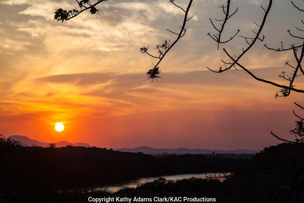 Sun going down, in the Guanacaste region, Costa Rica, sunset,