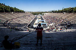 November 13, 2016 - Athens, Greece - A man takes pictures inside the Panathinaikon Stadium. The 34st Athens Authentic Marathon marks the 120th anniversary of the first contemporary Marathon race in 1896. The event is inspired by the ancient hemerodromos that run from Marathonas to Athens to bring the victorious news of the battle against Persians in 480 BC. The race of 1896 was won by the Greek Spiros Louis. The event is dedicated to Grigoris Lambrakis, a doctor, Balkan Athletic Games champion and pacifist. At the Marathon race more than 18000 athletes competed, making a new record of participants. (Credit Image: © Kostas Pikoulas/Pacific Press via ZUMA Wire)