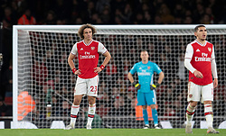 LONDON, ENGLAND - Thursday, December 5, 2019: Arsenal's David Luiz looks dejected as Brighton & Hove Albion score a winning second goal during the FA Premier League match between Arsenal FC and Brighton & Hove Albion FC at the Emirates Stadium. Arsenal lost 2-1. (Pic by Vegard Grott/Propaganda)