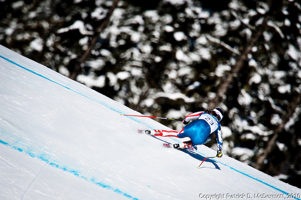 Alice Mckennis of the United States competes in the Women's Downhill on Franz's Downhill course during the 2010 Vancouver Winter Olympics in Whistler, British Columbia, Wednesday, Feb. 17, 2010.