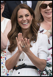 July 2, 2019 - London, London, United Kingdom - Image licensed to i-Images Picture Agency. 02/07/2019. London, United Kingdom. The Duchess of Cambridge applauds from the Royal Box at the end of Roger FedererÃ•s first round match on the second day of the Wimbledon Tennis Championships in London. (Credit Image: © Stephen Lock/i-Images via ZUMA Press)