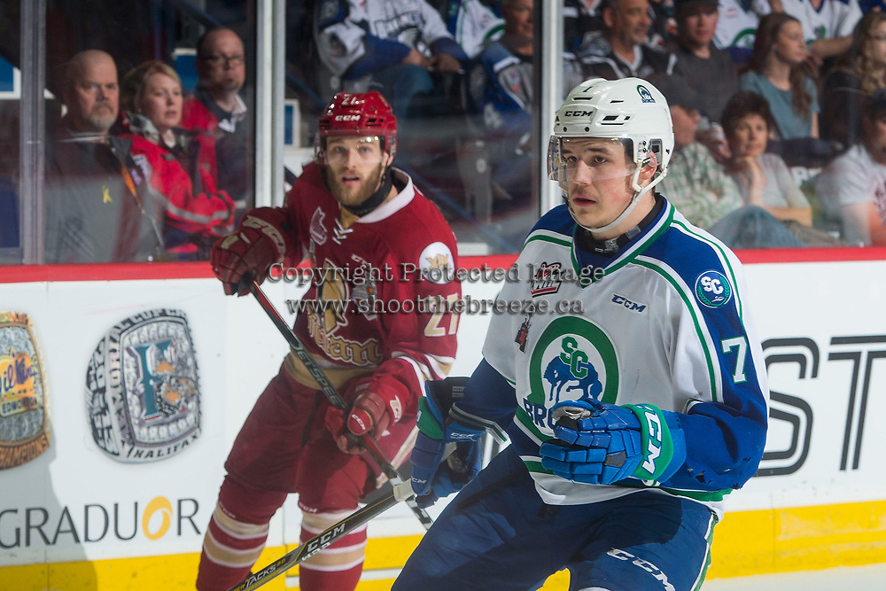 REGINA, SK - MAY 19: Noah King #7 of Swift Current Broncos skates against the Acadie-Bathurst Titan at the Brandt Centre on May 19, 2018 in Regina, Canada. (Photo by Marissa Baecker/CHL Images)