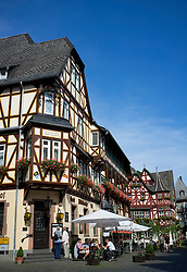 Main street in Bacharach in Rhineland beside River Rhine Germany