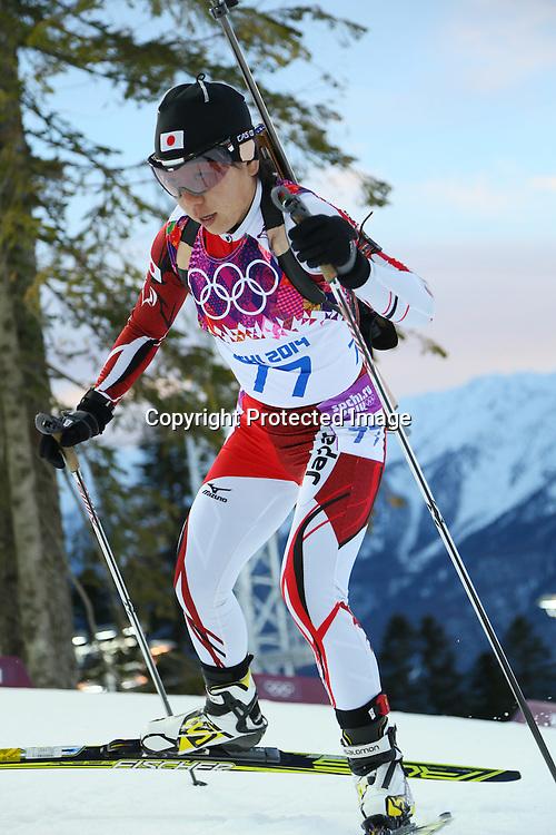 "Miki Kobayashi (JPN),<br /> FEBRUARY 14, 2014 - Biathlon : <br /> Women's 15km Individual<br /> at ""LAURA"" Cross-Country Ski & Biathlon Center <br /> during the Sochi 2014 Olympic Winter Games in Sochi, Russia. <br /> (Photo by Yohei Osada/AFLO SPORT) [1156]"