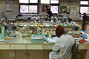 Employees work at the research and testing lab of the Martha Tilaar factory in East Jakarta, Indonesia, on July 2, 2015.