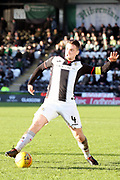 St Mirren midfielder Stephen McGinn (4) stretches for the ball during the Ladbrokes Scottish Premiership match between St Mirren and Hibernian at the Paisley 2021 Stadium, St Mirren, Scotland on 27 January 2019.