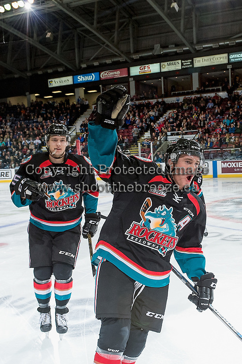 KELOWNA, CANADA - OCTOBER 21: Riley Stadel #3 and Tomas Soustal #15 of the Kelowna Rockets celebrate a goal against the Tri-City Americans on October 21, 2016 at Prospera Place in Kelowna, British Columbia, Canada.  (Photo by Marissa Baecker/Shoot the Breeze)  *** Local Caption *** Tomas Soustal; Riley Stadel;
