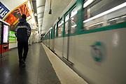 France, Paris, the Metro - underground train in motion
