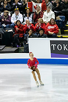 KELOWNA, BC - OCTOBER 26: A young figure skater clears the ice of skater gifts during the men's long program / free skate of Skate Canada International held at Prospera Place on October 26, 2019 in Kelowna, Canada. (Photo by Marissa Baecker/Shoot the Breeze)