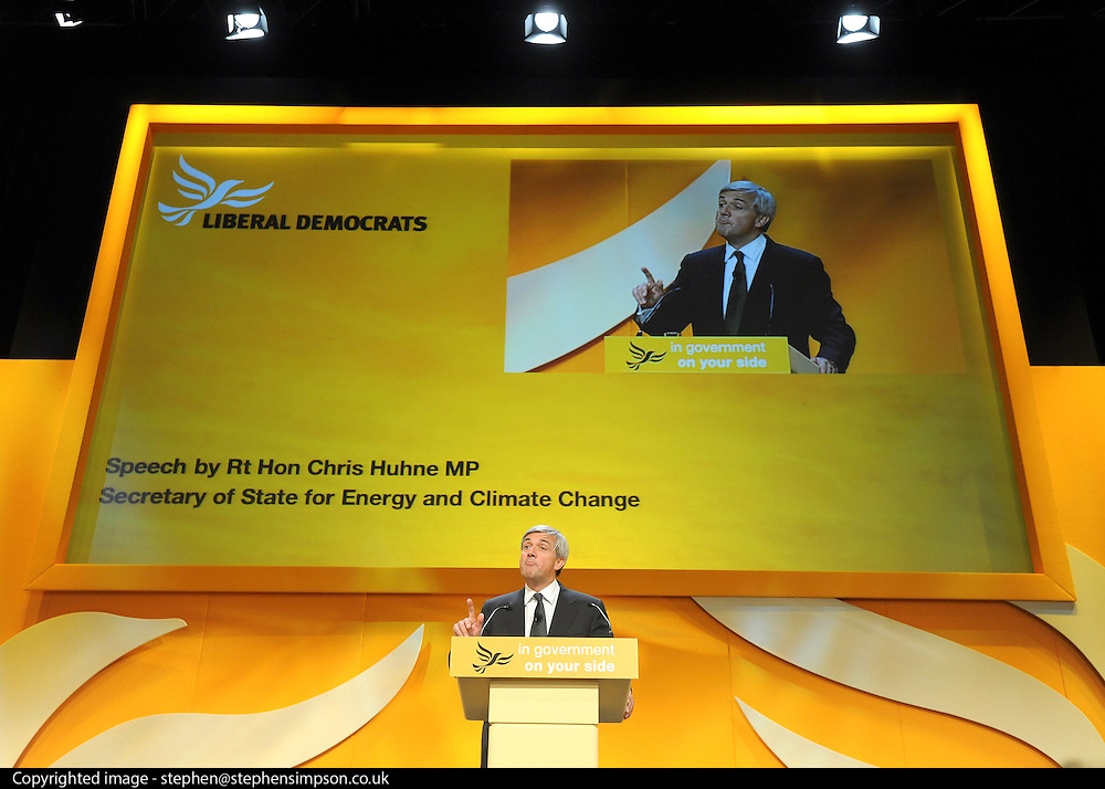 © Licensed to London News Pictures. 20/09/2011. BIRMINGHAM, UK.   Chris Huhne delivers his speech to the conference. Chris Huhne speech on the climate at the Liberal Democrat Conference at the Birmingham ICC today (20 Sept 2011): Stephen Simpson/LNP . Photo credit : Stephen Simpson/LNP