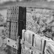 Distressed Wood Fencepost Rusted Hinge - North Owens Valley - Lensbaby - Infrared Black & White