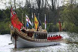 © Licensed to London News Pictures. 17/04/2016. The Queen's Row Barge Gloriana has undertaken its first engagement of 2016 with the Tudor Pull from Hampton Court Palace to the Tower of London. The popular vessel was accompanies by a small flotilla of traditional Thames cutters for the re-enactment of the ancient ritual. The Tudor Pull took place in glorious sunny weather on the Thames today. Credit: Rob Powell/LNP