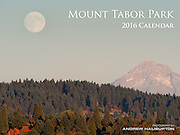 Supermoon rises over Mount Tabor Park and Mount Hood 11,239 ft, Portland, Oregon