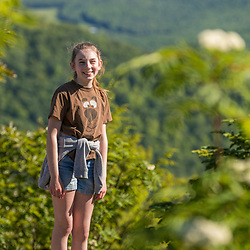 A teenage girl on a hike in Jackson, New Hampshire. White Mountains.