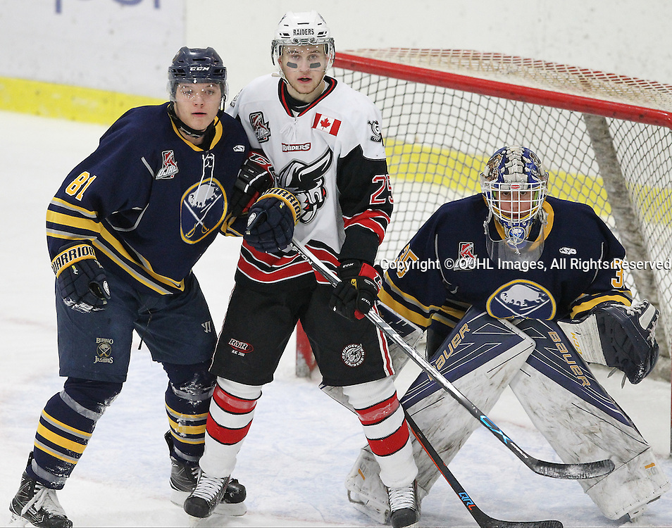 GEORGETOWN, ON  - MAR 2,  2017: Ontario Junior Hockey League, playoff game between the Georgetown Raiders and the Buffalo Jr Sabres. Anthony Hora #81 of the Buffalo Jr. Sabres battles for position with Jordan Anderson #25 of the Georgetown Raiders during the first period.<br /> (Photo by Tim Bates / OJHL Images)