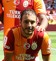 Emirates Cup Match between Galatasaray and Porto at Emirates Stadium in London England on August 03, 2013.<br /> Pictured: Galatasaray team photo. UP ( L-R) Hakan Balta, Goalkeeper Fernando Muslera, Hamit Altintop, Aurelien Chedjou, Dany Nounkeu and Felipe melo, Below ( L-R) Emmanuel Eboue, Didier Drogba , Selcuk Inan, Wesley Sneijder and Nordin Amrabat.