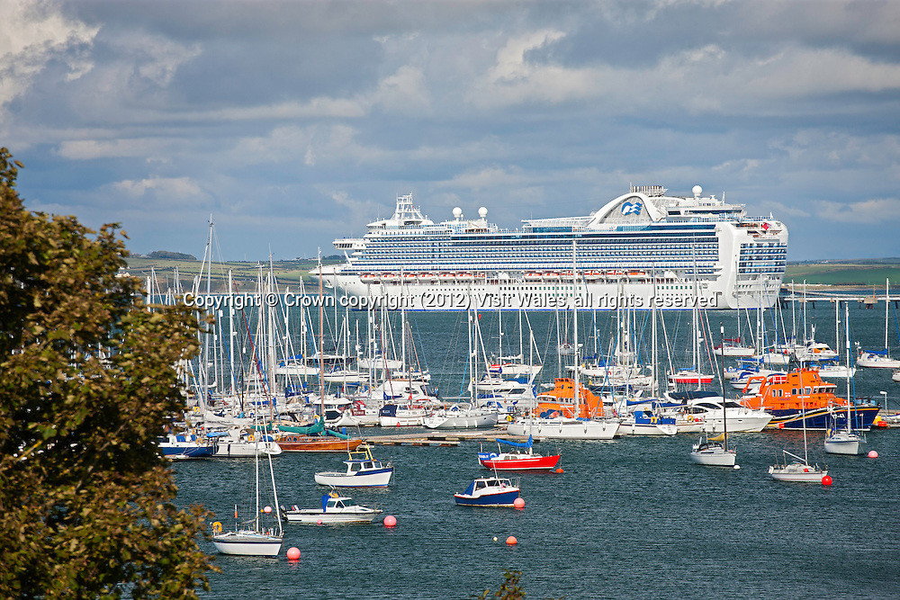 Crown Princess<br /> Cruise Ship berthed in Holyhead Bay<br /> Isle of Anglesey<br /> North<br /> Cruise Ships<br /> Transport