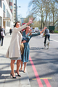 FIONA DOODY; CELESTRIA HUGHES, Leaving The Seventh Annual Foreign Sisters Lunch in aid of Cancer Research UK. . The Dorchester 53 Park Lane. London. 1 May 2013.
