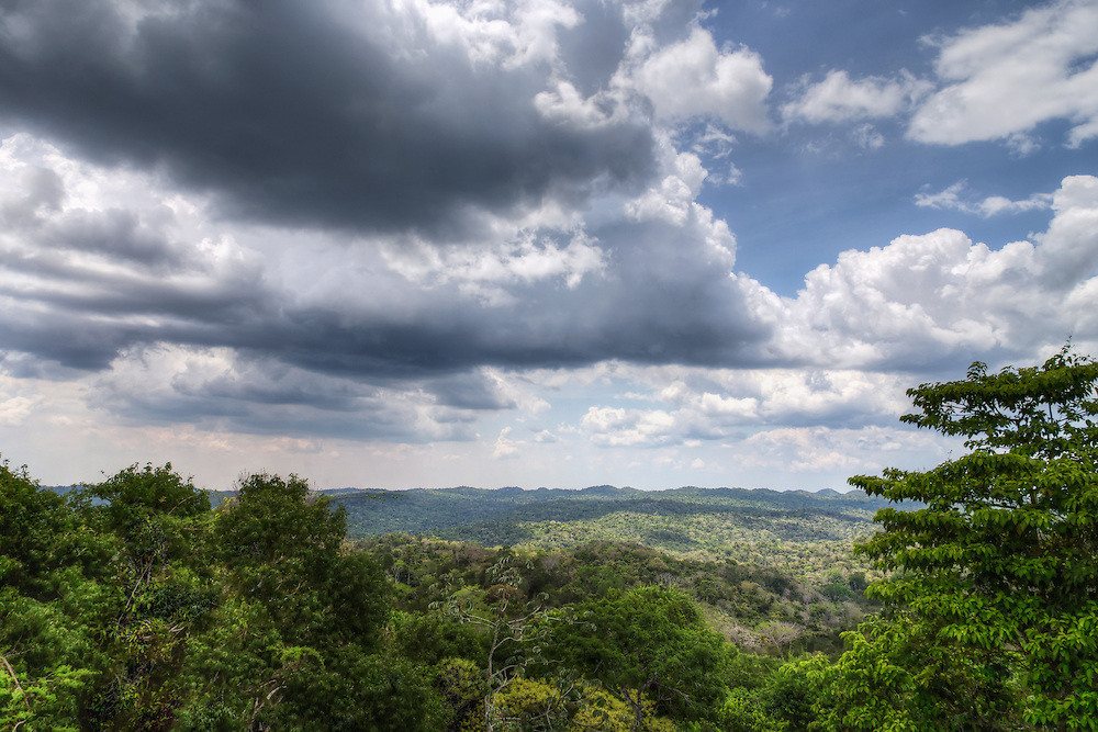 View from the top of Caana towards Guatamala, Caracol, Belize