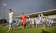 FC Helsingørs spillere løber på banen til kampen i 2. Division mellem FC Helsingør og Boldklubben Avarta den 16. august 2019, på Helsingør Ny Stadion (Foto: Claus Birch)..