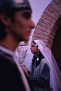 SPAIN /  Extremadura / Badajoz / Alburquerque.  Medieval recreations in Spain. Bride and groom in Sephardic wedding. The village celebrates every August Medieval journeys.....