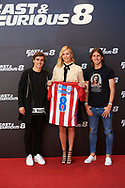 Antoine Griezmann, Filipe Luis, Charlize Theron attended 'Fast &amp; Furious 8' photocall at Villamagna Hotel on April 6, 2017 in Madrid<br /> Atletico de Madrid Players give a T-Shirt with her name to Charlize Theron