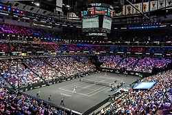 September 21, 2018 - Chicago, IL, U.S. - CHICAGO, IL - SEPTEMBER 21: A general view of the United Center as Team World Jack Sock of the United States rplays against Team Europe Kyle Edmund of Great Britain during their Men's Singles match on day one of the 2018 Laver Cup at the United Center on September 21, 2018 in Chicago, Illinois.(Photo by Robin Alam/Icon Sportswire) (Credit Image: © Robin Alam/Icon SMI via ZUMA Press)