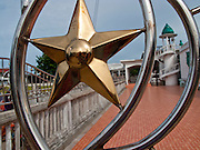 """Sept. 28, 2009 -- TANJONG DATO, THAILAND: The Dato Mosque in the Muslim village of Tanjong Dato, in the province of Pattani, Thailand. The mosque, originally built in the 1400's at the time of the Pattani Kingdom, Thai control of the province, is on Thailand's historic register. Everybody in the village is Muslim and they say they have no problems, but the roads around the village leading to the provincial capital of Pattani are too dangerous for them to use once it gets dark. Thailand's three southern most provinces; Yala, Pattani and Narathiwat are often called """"restive"""" and a decades long Muslim insurgency has gained traction recently. Nearly 4,000 people have been killed since 2004. The three southern provinces are under emergency control and there are more than 60,000 Thai military, police and paramilitary militia forces trying to keep the peace battling insurgents who favor car bombs and assassination.   Photo by Jack Kurtz / ZUMA Press"""