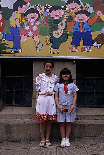 China, Students in front of Children's Palace School in Shanghai.