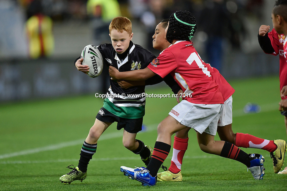 Half time kids league during the NRL Warriors vs Bulldogs Rugby League match at the Westpac Stadium in Wellington on Saturday the 16th of April 2016. Copyright Photo by Marty Melville / www.Photosport.nz