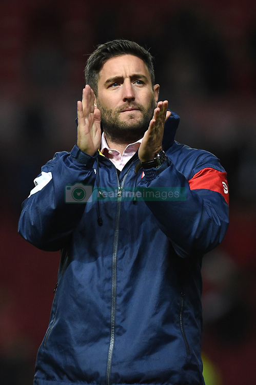 Bristol City manager Lee Johnson applauds supporters after the Carabao Cup, third round match at Ashton Gate Stadium, Bristol.
